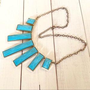 Blue Geometric Design Necklace